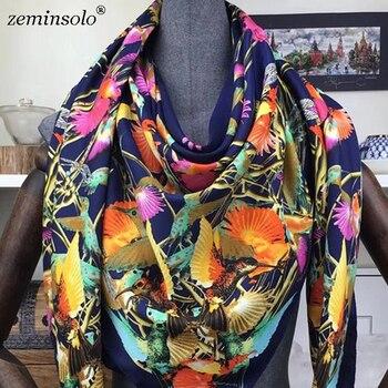 a2efc9e2fa5b 130*130 см роскошный бренд 100% Саржевые шелковые женские шарфы квадратные  шарфы Птица Печатный домашний Феникс шелковый шарф-шаль Хиджаб