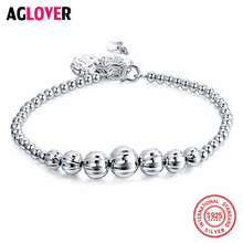 Authentic 100% 925 Sterling Silver Brand Bead Bracelets & Bangles Gradient Beads Charms Women Fashion Jewelry