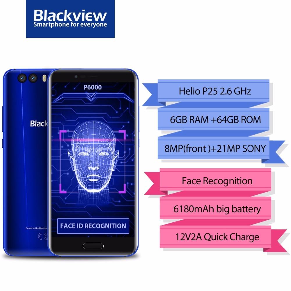Blackview P6000 Smartphone 5.5 16:9 FHD Full Screen 6GB+64GB Helio P25 Octa Core 6180mAh 21+0.3MP Face Recognition 4G Phone