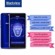 "Blackview p6000 smartphone 5.5 ""16:9 FHD Pantalla Completa 6 GB + 64 GB helio P25 octa Core 6180 Mah 21 0.3 MP Cara reconocimiento 4G teléfono"