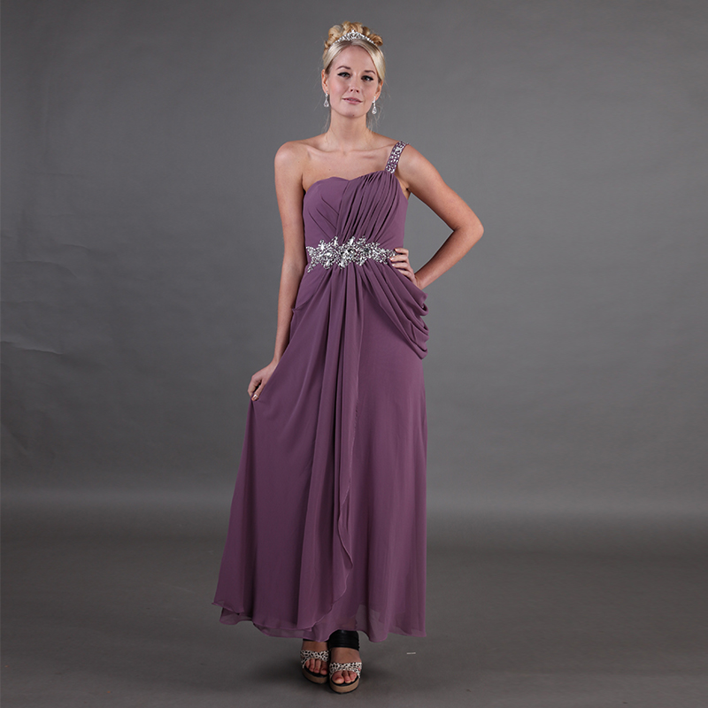 One Shoulder Purple Mothers Party Dresses Pleats Chiffon Sleeveless Draped Crystal Beading 2019 Mother Of The Bride Dresses