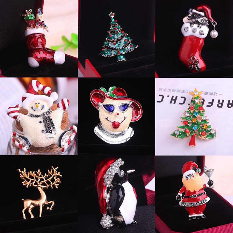 Z61 Yılbaşı Hediyeleri Güzel Kırmızı Ayakkabı Çizme Ağacı Hayvan Broş Pins Kadınlar için Tam Rhinestone Noel Broş Yeni yıl