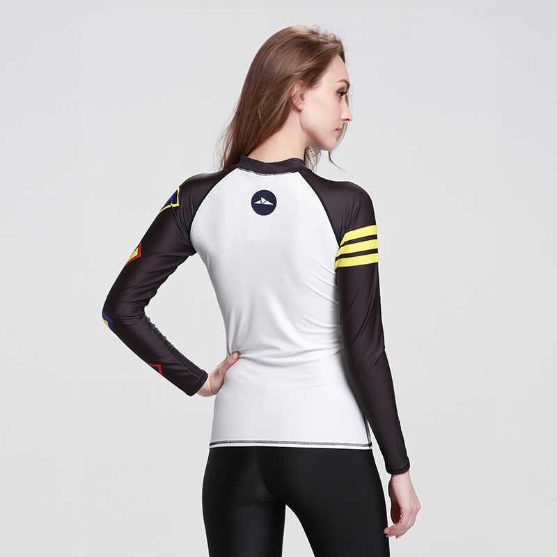 2019 Baru Lycra Baju Renang Lengan Panjang Surat Surf Atasan Wanita Cepat Kering Pantai Tees Ruam Penjaga T-shirt Wanita Perlindungan Matahari