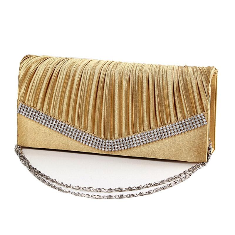 2017 Satin Rhinestone Evening Clutch Shoulder Bag Ladies Gold Clutch Purse Chain Handbag Bridal Wedding Party bolsas mujer Li294