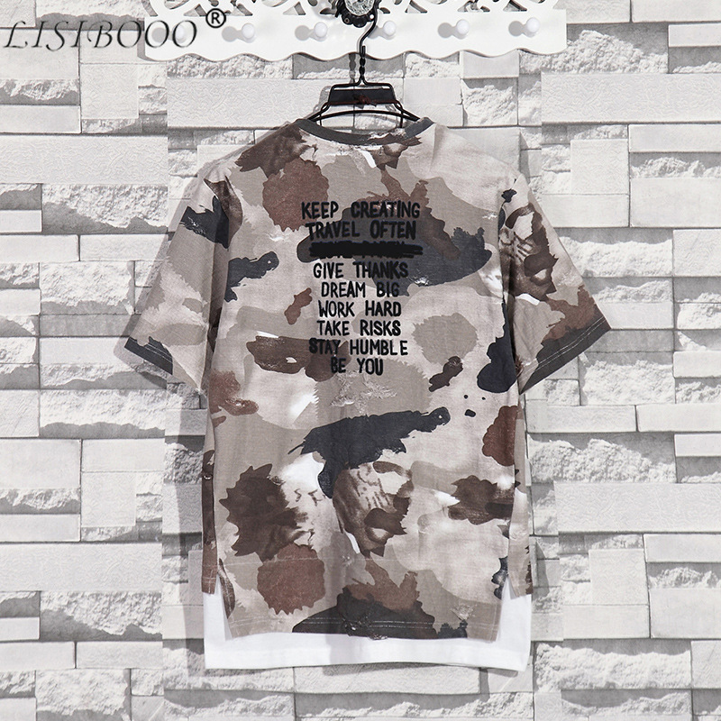 Summer New Fashion Retro Print Men T Shirt Camouflage Short-sleeved T-shirt Male Round Neck Loose Large Size T-shirt 2