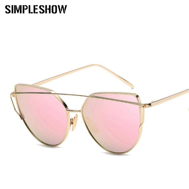 SIMPLESHOW Cat Eye Sunglasses Women Brand Fashion Rose Gold Mirror Sun Glasses Unique Flat Ladies Sunglasses oculos UV400