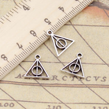 30pcs Charms deathly hallows 13x12mm Tibetan Silver Plated Pendants Antique Jewelry Making DIY Handmade Craft(China)