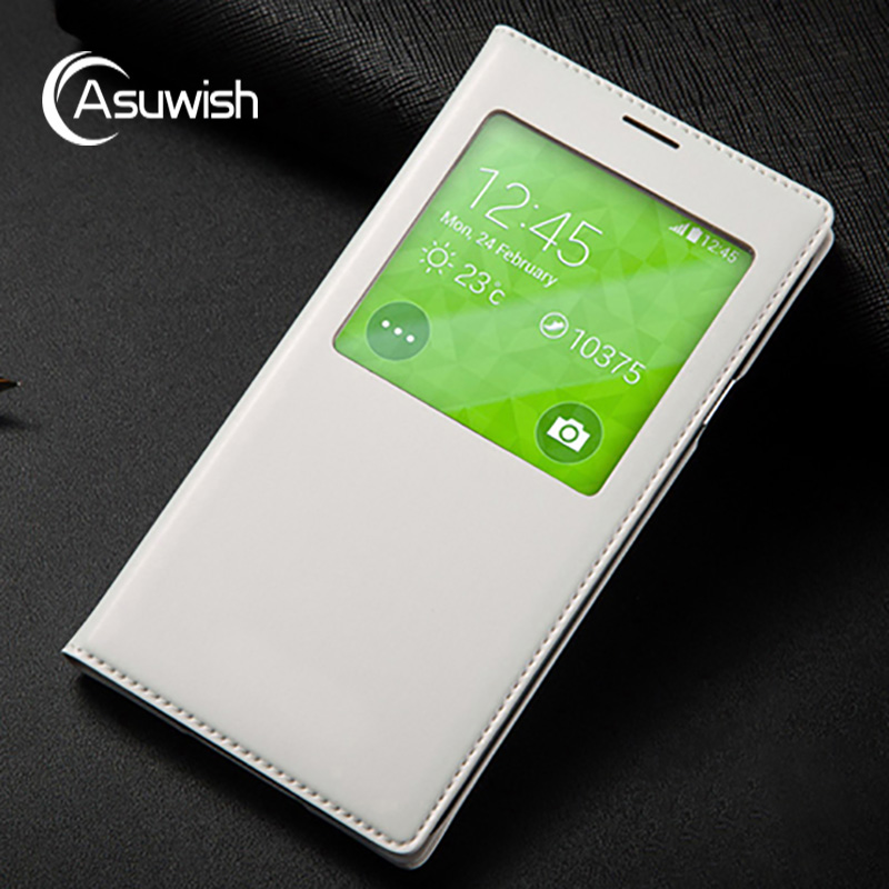 Asuwish Smart View Window Case Auto Sleep Wake Phone Cover Shell With IC Chip For Samsung Galaxy S5 Mini G800 G800F G800H G800M