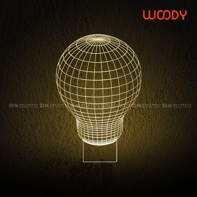 Nouveauté 3D optique Illusion LED mur d'éclairage de la lampe de Table lumière seulement 5 mm épais avec Base en bois 150801