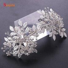 Серебряный ободок с листьями прозрачный кристалл, свадебный головной убор женский свадебный головной аксессуар T098