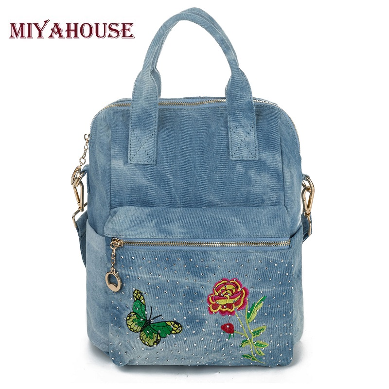 Miyahouse Butterfly Floral Printing Backpack Women Shoulder Bags High Quality School Backpacks For Women Denim Backpack stylish floral off the shoulder blouse for women