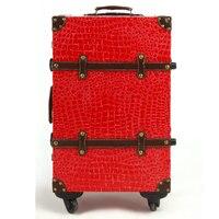 Мода Дорожная сумка тележка багажа мужской женская сумка чемодан luggage14 20 22 24Red замуж коробка, в стиле ретро из искусственной кожи под крокоди