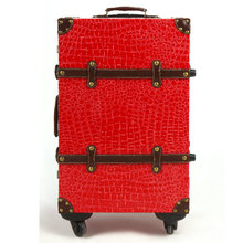 Fashion travel bag trolley luggage male women's handbag suitcase luggage14 20 22 24red married box,retro crocodile pu luggage