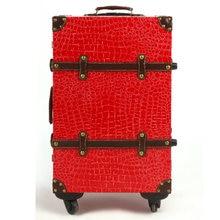 Мода Дорожная сумка тележка багажа мужской женская сумка чемодан luggage14 20 22 24Red замуж коробка, в стиле ретро из искусственной кожи под крокодила дорожная сумка