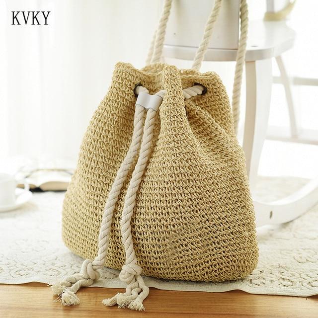 KVKY 2018 Women Summer Drawstring Crochet Straw Beach Bag Bucket Bags Knitting Straw Double Shoulder Bags Travel Backpacks