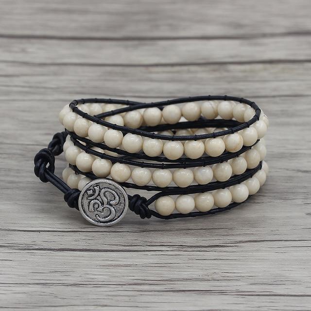 White Natural Stone Bracelet 3 Wraps Beaded Beads Leather Dropshipping Bohemian Yoga Wrap