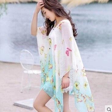 الصيف الشمس حماية الملابس الشيفون الرؤوس المطبوعة فضفاض شال الإناث رقيقة الشاطئ والأوشحة وشاح سترة مثير بيكيني التستر