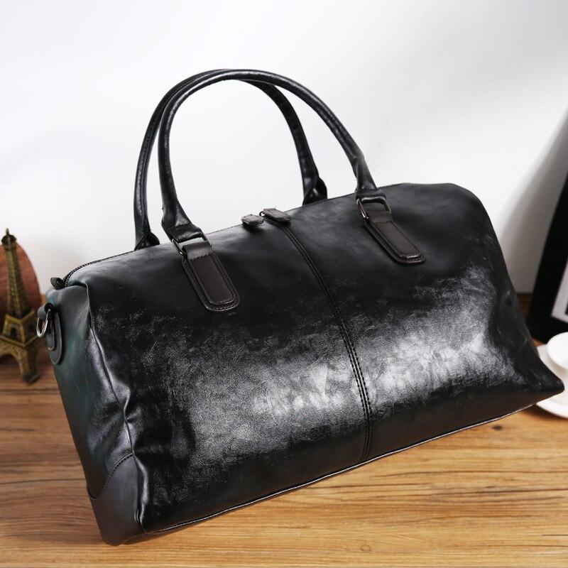 黒メンズ pu レザー大旅行バッグ大容量ダッフルバッグヴィンテージハンドバッグ荷物ショルダーバッグ 2019 新ファッション卸売  グループ上の スーツケース & バッグ からの 旅行バッグ の中 2