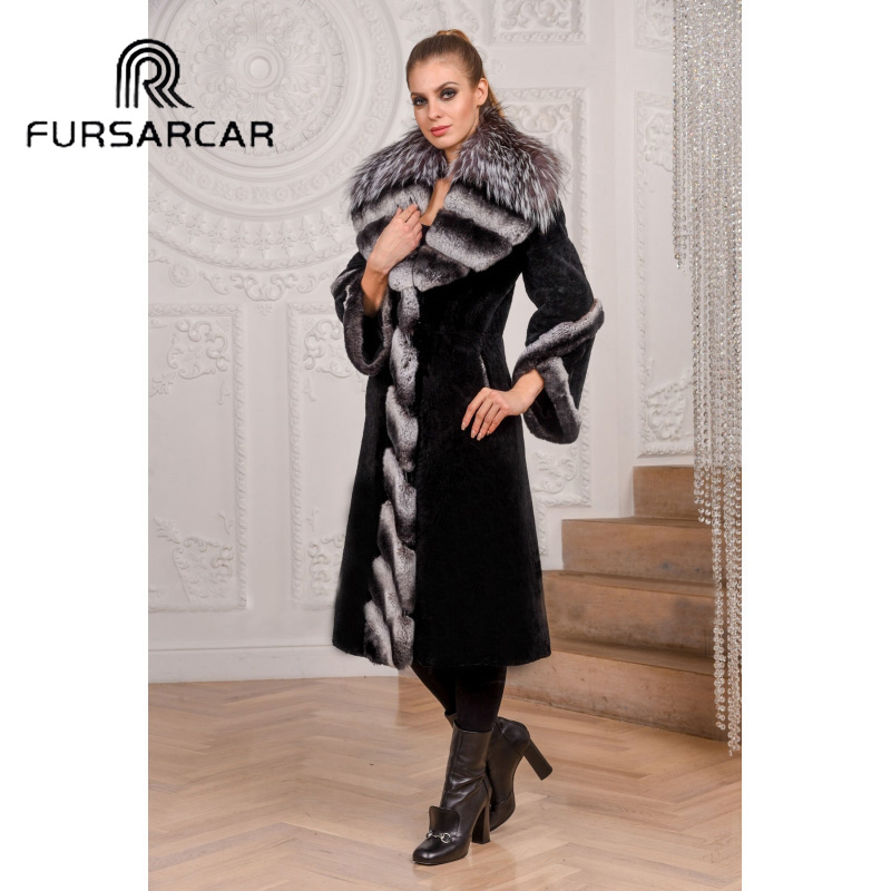 FURSARCAR 2019 Fashion 100cm Long Black Natural Fur Coat Luxury Winter Rex Rabbit Fur Jacke For Women with Silver Fox Collar image