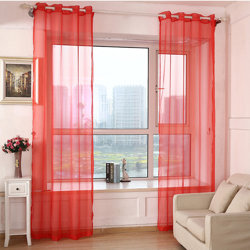 Rainbow Colors Solid Sheer Panels Door Window Curtains Drapes Voile Curtain For Home Decor Living Room Bedroom Kitchen AP184 20-in Curtains from Home ...