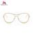 Meguste oro monturas de gafas marco de Anteojos Ópticos de la señora Mujeres Informáticos Llanura personalidad con taladro Vidrio falso.