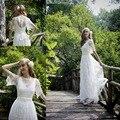 Robe de mariage Ivory Bohemian Wedding Dress Boho Lace Wedding Gowns with Half Sleeves 2017 Designer Gypsy Wedding Dresses