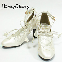 2016 Japanese New Lolita Star Pearl Heel Strap Girl Shoes Cross Straps Cosplay Soft Sister Shoes