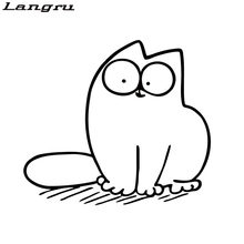 Langru Car Stying Lovely Simon Cat Car Styling Decorative Decals Car Window Glass Funny Stickers JDM(China)
