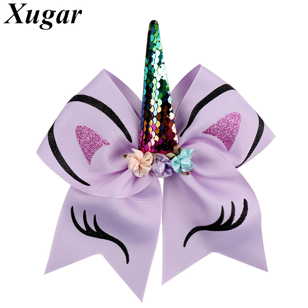 Large Sequin Unicorn Horn Flower Bow Hair Clip Girls Kids Headwear Accessories