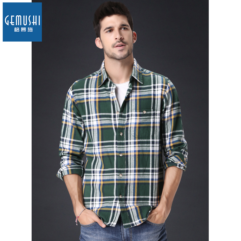 10b0545527a The new spring 2015 thick cotton flannel grinding wool shirt washed do old  fashion American leisure grid shirt free shipping