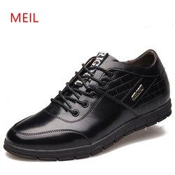 Aumento da altura 6 cm sapatos de couro casuais homens estilo britânico de alta qualidade sapatos de negócios macios marca luxo elevador para homem