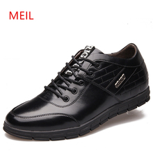 Height Increase 6CM Casual Leather Shoes Men British Style High Quality Soft Business Shoe Luxury Brand Elevator Shoes for Men цена