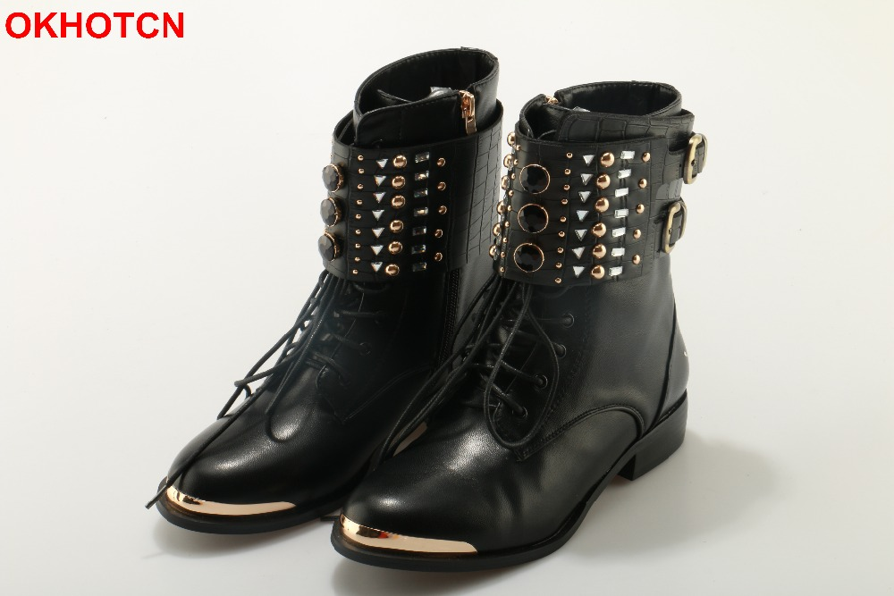 OKHOTCN Fashion Women Ankle Boots Casual Lace Up Motorcycle Boots Metal Round Toe Rivets Flat Booties Buckle Strap Martin Boots front lace up casual ankle boots autumn vintage brown new booties flat genuine leather suede shoes round toe fall female fashion