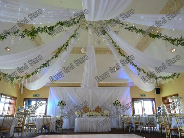 10pcs 0.45m*8m pure White Wedding Ceiling Draper Canopy Drapery for decoration wedding fabric & 10pcs 0.45m*8m pure White Wedding Ceiling Draper Canopy Drapery ...