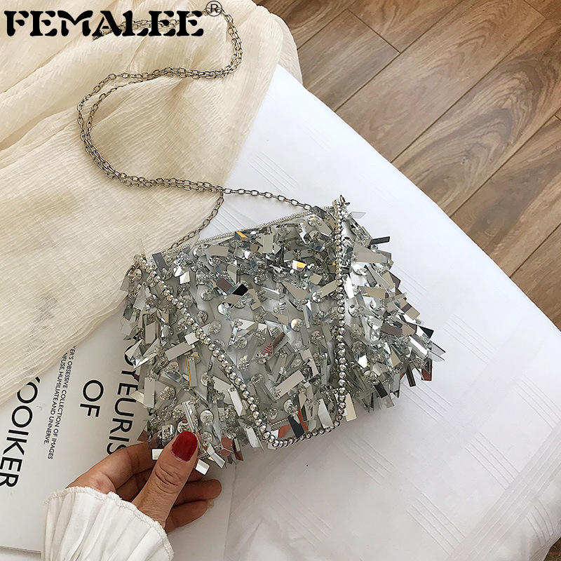 Beaded Chains Shoulder Bag Women Sequined Clutch Purse Small Silver Flap Bag Female Fashion Tassel Bags Party Evening Handbags
