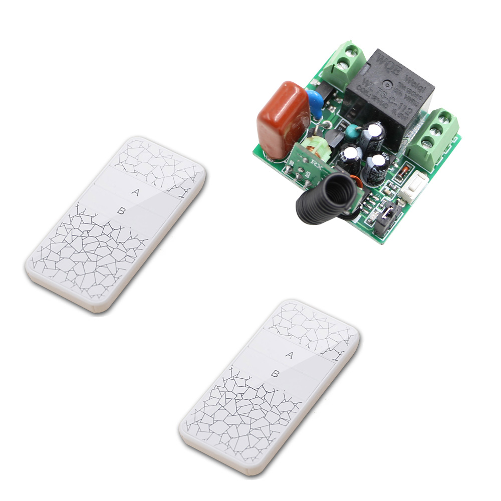 AC 220V RF Wireless Remote Control Switch 10A Mini Relay Output Radio Controller Switch 1 Channel Receiver + 2 Transmitter