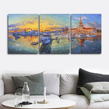 Laeacco Sea Sunrise Boat City Posters and Prints Nordic Wall Artwork Abstract Living Room Home Decor Paint On Canvas Painting