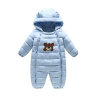 2018Thick Warm Infant Cartoon Bear Rompers Winter clothes Newborn Boy Girl Romper Jumpsuit Christmas Hooded Kids Outerwear 0 18M