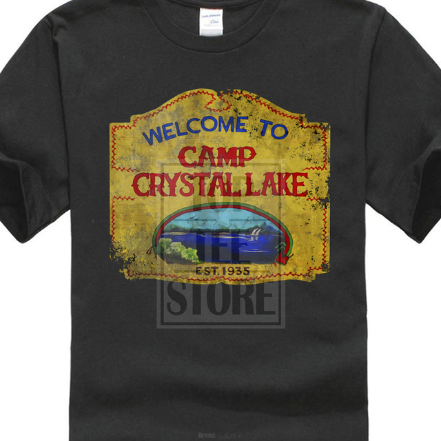 cb02f21de558 Mens Cotton Tee Shirt Short Sleeve Camp Crystal Lake Vintage Sign T Shirt  The 13 Friday Jason Horror 13Th