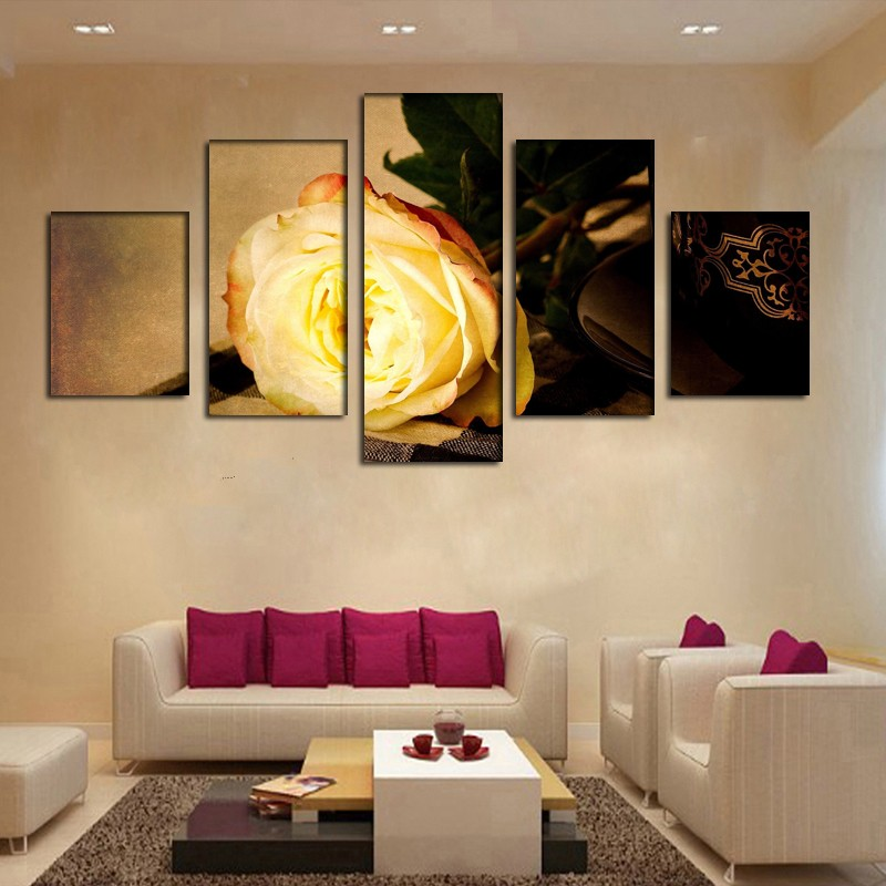 5 Pieces Modern Modular Picture Canvas Painting Gold Rose Flower Wall Art Home Decoration No Framed-in Painting u0026 Calligraphy from Home u0026 Garden on ... & 5 Pieces Modern Modular Picture Canvas Painting Gold Rose Flower ...