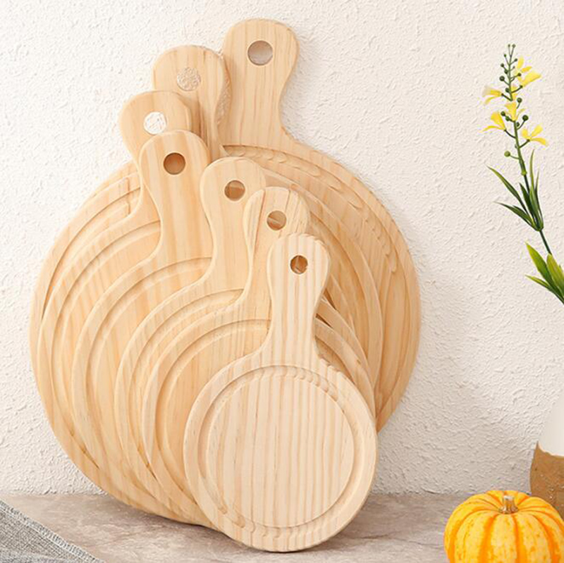 Natural Wooden Pizza Stone Round with Hand Pizza Baking Tray Pizza Stone Cutting Board Platter Pizza Cake Bakeware Tools