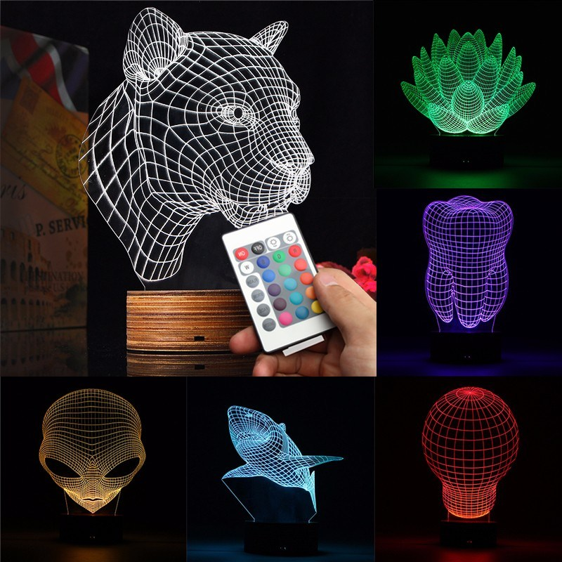 3D Handmade Acrylic Lamp USB Remote Control Color Changing LED Night Light Lotus Leopard Bulb Tooth Shark Alien Shape color change remote control led animal shape night light
