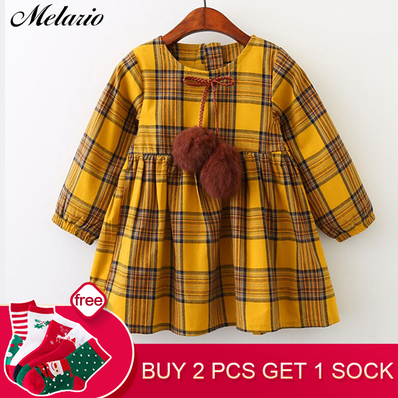Melario Girls Dress 2018 New Arrival Baby girl's dress Children clothing Autumn Kids Clothes Ball Bow Design denim dress bow design denim espadrille flats