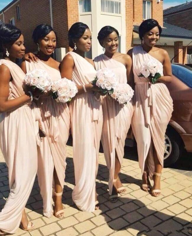 Elegant 2019 Cheap   Bridesmaid     Dresses   Under 50 Sheath One-shoulder Chiffon Long Wedding Party   Dresses   For Women
