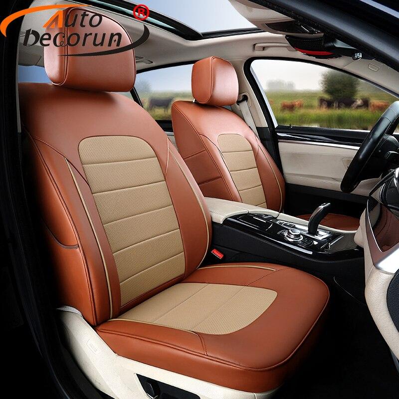 Fundas de asiento de coche de cuero genuino AutoDecorun para Ford Explorer 2012 2014 2017 2018 funda de asiento 3 filas 7 asientos accesorios