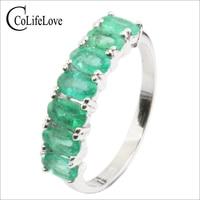 Красивое серебряное Изумрудное обручение кольцо 7 шт 3 мм * 5 мм натуральное SI класса Изумрудное серебряное кольцо 925 серебро Изумрудное коль
