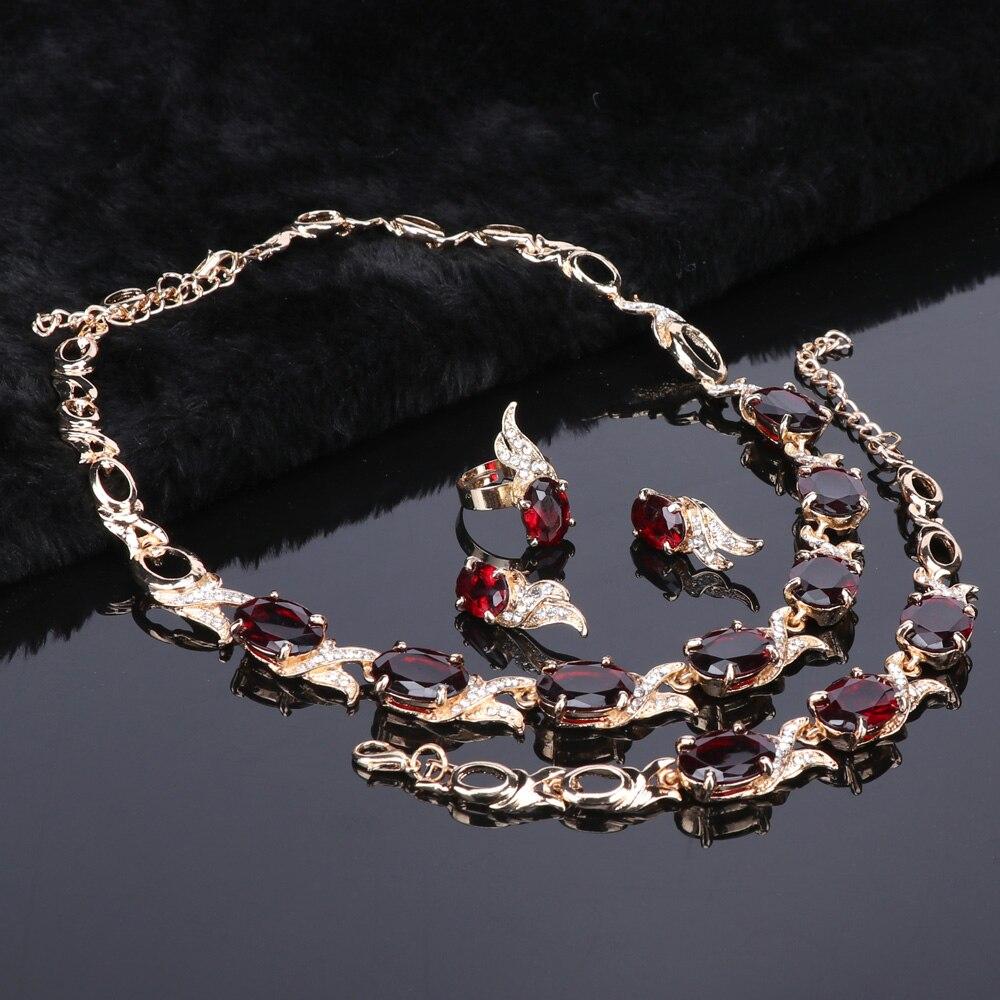 23b942e57c53 Ouhe boda oro color rojo cristal moda collar Juegos de joyería ...