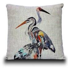 Nueva funda de almohada de pájaro acuarela Vintage pintada, funda de cojín de cisne de Color, almohada de lino en decoración del hogar cojines de sofá