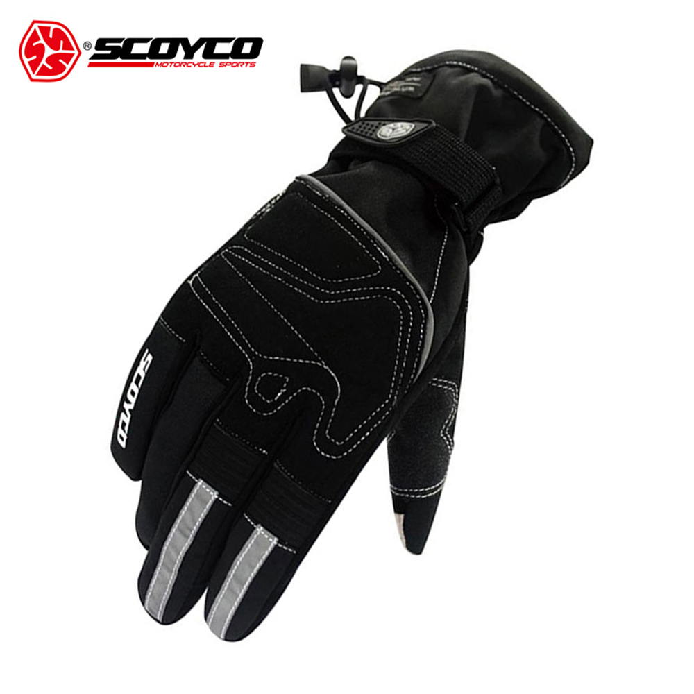 SCOYCO Motorcycle Gloves Reflective Riding Gloves Winter Waterproof Windproof Thermal Ski Snowboard Touch Screen Gloves Guantes