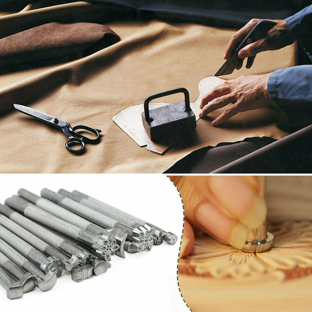 20pcs Leather Puncher Tools  Working Saddle Making Set Carving Craft Stamping